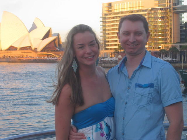 The bride and groom, Rachel and Chris on Sydney Harbor Cruise